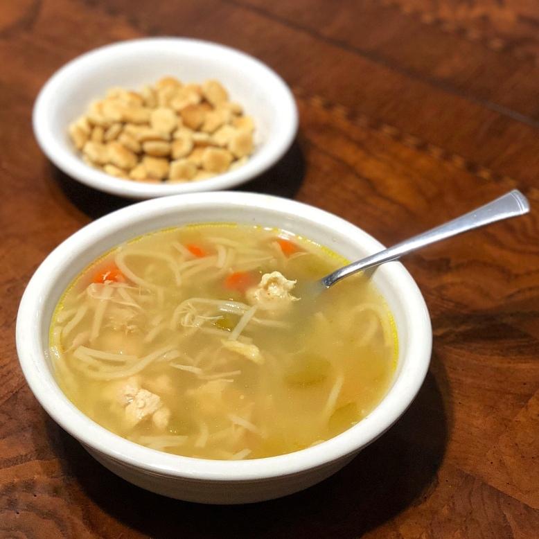 Warm classic chicken noodle soup